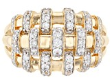 White Cubic Zirconia 18K Yellow Gold Over Sterling Silver Ring 0.75ctw
