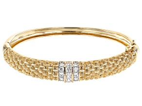 White Cubic Zirconia 18K Yellow Gold Over Sterling Silver Bracelet 3.2ctw