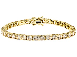 Champagne Cubic Zirconia 18k Yellow Gold Over Sterling Silver Tennis Bracelet 29.23ctw