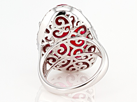 Red and White Cubic Zirconia Rhodium Over Sterling Silver Ring 20.33ctw