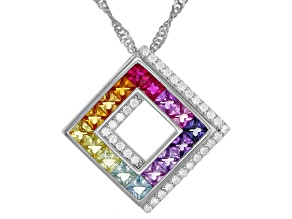 Multicolor Cubic Zirconia Rhodium Over Sterling Silver Pendant With Chain 1.92ctw