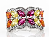 Pink, Yellow, Orange, and White Cubic Zirconia Rhodium Over Sterling Silver Ring 5.01ctw