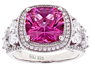 Lab Created Pink Sapphire and White Cubic Zirconia Rhodium Over Sterling Silver Ring 8.21ctw