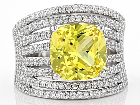 Yellow Lab Created Sapphire and White Cubic Zirconia Rhodium Over Sterling Silver Ring 7.09ctw