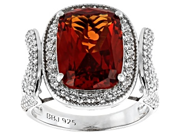 Picture of Lab Created Orange Sapphire and White Cubic Zirconia Rhodium Over Sterling Silver Ring 10.08ctw.