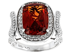 Lab Created Orange Sapphire and White Cubic Zirconia Rhodium Over Sterling Silver Ring 10.08ctw.