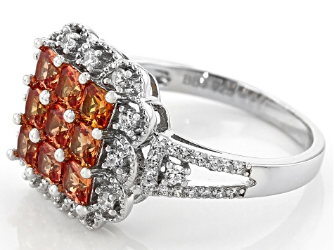 Lab Created Orange Sapphire and White Cubic Zirconia Rhodium Over Sterling Silver Ring 2.04ctw