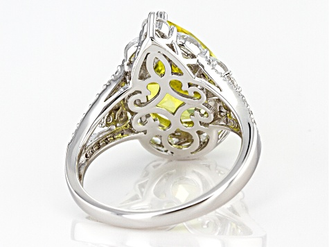 Lab Created Yellow Sapphire and White Cubic Zirconia Rhodium Over Sterling Silver Ring 8.37ctw