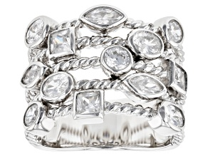 White Cubic Zirconia Rhodium Over Sterling Silver Ring 3.34ctw