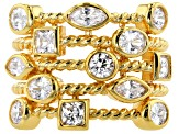 White Cubic Zirconia 18k Yellow Gold Over Silver Ring 3.34ctw