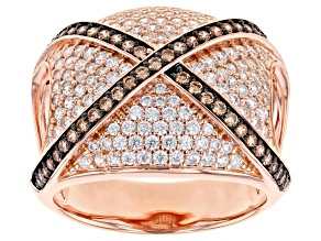 Champagne and White Cubic Zirconia 18k Rose Gold Over Sterling Silver Ring 2.20ctw