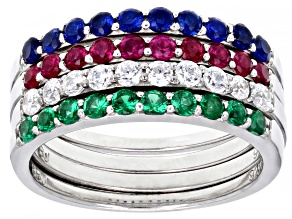 Red Lab Ruby, Blue Lab Sapphire & White & Green Cubic Zirconia Rhodium Over Silver Rings-Set 1.70ctw