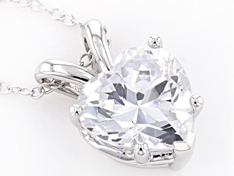 White Cubic Zirconia Rhodium Over Sterling Silver Pendant With Chain 5.38