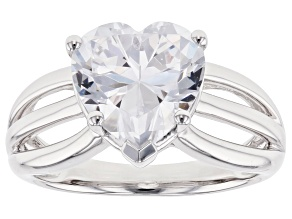 White Cubic Zirconia Rhodium Over Sterling Silver Ring 5.38ctw