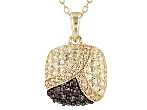 Brown and Champagne Cubic Zirconia 18k Yellow Gold Over Sterling Silver Pendant With Chain 0.63ctw