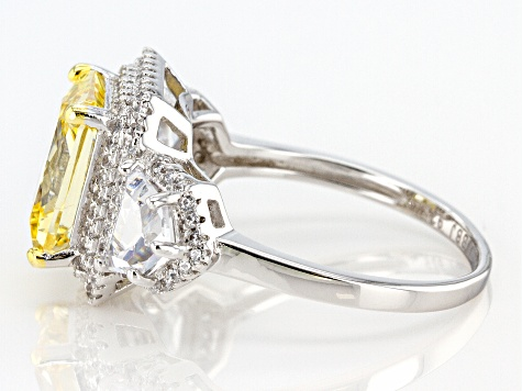 Yellow and White Cubic Zirconia Rhodium Over Sterling Silver Ring 6.98ctw
