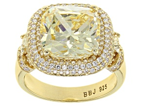 Yellow and White Cubic Zirconia 18k Yellow Gold Over Silver Ring 11.47ctw