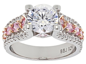 Pink and White Cubic Zirconia Rhodium Over Sterling Silver Ring 5.52ctw