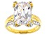 White Cubic Zirconia 18k Yellow Gold Over Sterling Silver Ring 10.94ctw