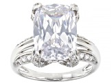 White Cubic Zirconia Platinum Over Sterling Silver Ring 10.94ctw