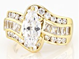 White Cubic Zirconia 18k Yellow Gold Over Sterling Silver Ring 4.69ctw