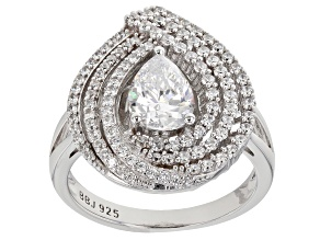 White Cubic Zirconia Rhodium Over Sterling Silver Ring 2.91ctw