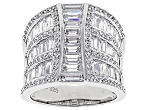 White Cubic Zirconia Rhodium Over Sterling Silver Ring 6.32ctw