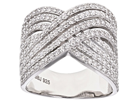 White Cubic Zirconia Rhodium Over Sterling Silver Ring 2.33ctw