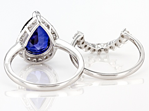 Lab Created Blue Sapphire and White Cubic Zirconia Rhodium Over Sterling Ring With Band 6.40ctw