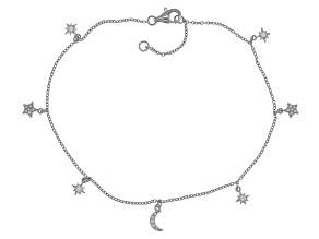 White Cubic Zirconia Rhodium Over Sterling Silver Star and Moon Anklet 0.43ctw