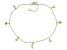 White Cubic Zirconia 18k Yellow Gold Over Sterling Silver Star and Moon Anklet 0.43ctw