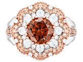 Brown, Champagne, and White Cubic Zirconia Rhodium Over Sterling Silver Ring 5.03ctw