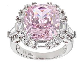 Pink and White Cubic Zirconia Rhodium Over Sterling Silver Ring 19.47ctw
