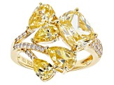 Canary and White Cubic Zirconia 18k Yellow Gold Over Sterling Silver Ring 7.78ctw