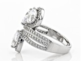 White Cubic Zirconia Rhodium Over Sterling Silver Ring 6.61ctw