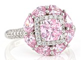 Pink and White Cubic Zirconia Rhodium Over Sterling Silver Ring 5.23ctw