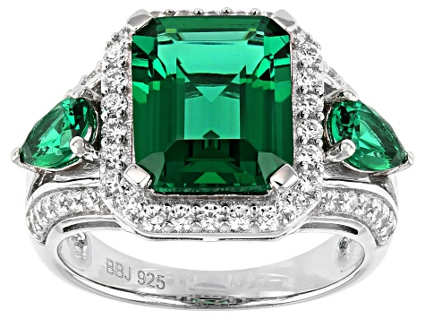 Green and White Cubic Zirconia Rhodium Over Sterling Silver Ring 5.89ctw