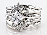 White Cubic Zirconia Platinum Over Sterling Silver Ring With 4 Bands 2.94ctw