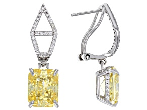 Yellow and White Cubic Zirconia Rhodium Over Sterling Silver Earrings 13.38ctw