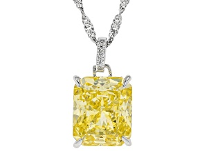 Yellow and White Cubic Zirconia Rhodium Over Sterling Silver Pendant With Chain 11.72ctw