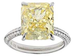 Yellow and White Cubic Zirconia Rhodium Over Sterling Silver Ring 12.33ctw
