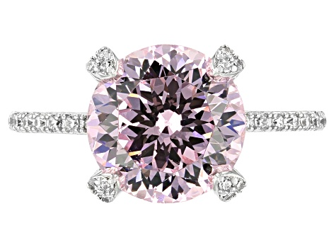 Pink and White Cubic Zirconia Rhodium Over Sterling Silver Ring 7.88ctw