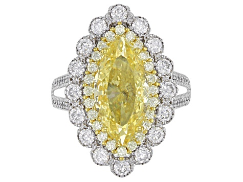 Yellow and White Cubic Zirconia Rhodium Over Sterling Silver Ring 10.79ctw