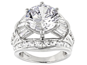 White Cubic Zirconia Rhodium Over Sterling Silver Ring 16.44ctw