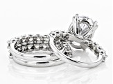 White Cubic Zirconia Rhodium Over Sterling Silver Ring- Set of 3 16.05ctw