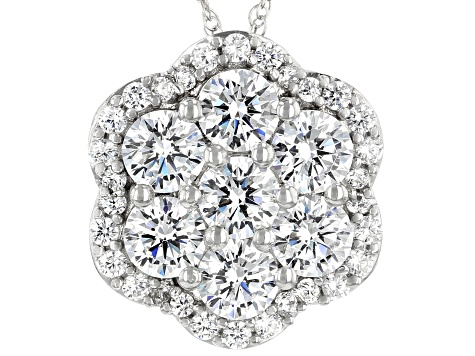 White Cubic Zirconia Pendant With Chain  3.85ctw