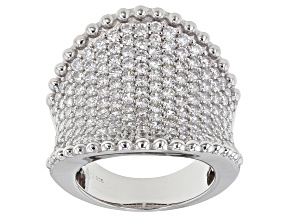 White Cubic Zirconia Rhodium Over Sterling Silver Ring 5.98ctw