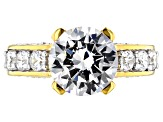 White Cubic Zirconia 18k Yellow Gold Over Sterling Silver Ring 9.13ctw