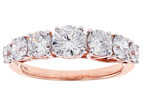 White Cubic Zirconia 18K Rose Gold Over Sterling Silver Ring 3.85ctw
