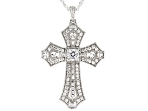 White Cubic Zirconia Rhodium Over Sterling Silver Cross Pendant With Chain 2.71ctw